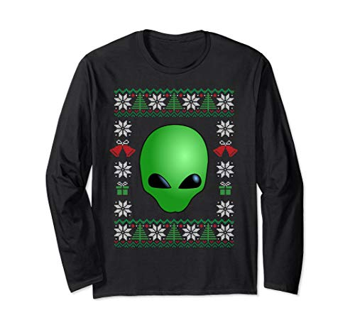 Alien with Ugly Christmas Sweater Long Sleeve Shirt