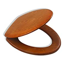 LDR 050 1750CP Elongated Wood Toilet Seat with Chrome Hinges, Oak