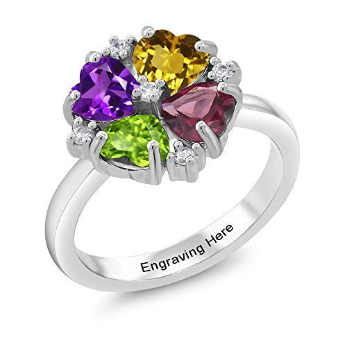 Gem Stone King Build Your Own Ring - Personalized 4 Birthstone Heart 925 Sterling Silver Ring (Size 6)