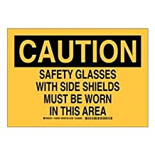 "Brady 128595 Personal Protection Sign, Legend ""Safety Glasses with Side Shields Must Be Worn in This Area"", 10"" Height, 14"" Width, Black on Yellow"