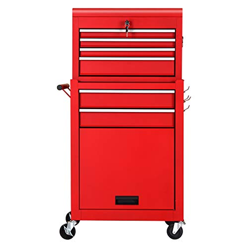 Rolling Tool Chest 6-drawer Toolbox Removable Tool Storage Organizer Lockable Cabinet (Classic Red)