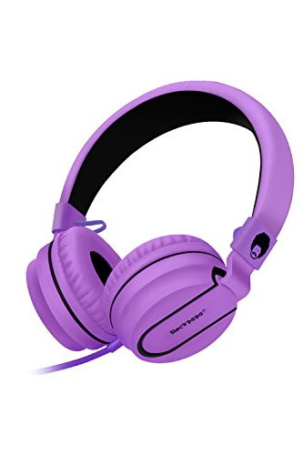 RockPapa Stereo Adjustable Foldable Headphones Lightweight Headband Headsets with Microphone 3.5mm for Cellphones Smartphones iPhone Tablets Laptop Computer Mp3/4 DVD (Black/Purple)