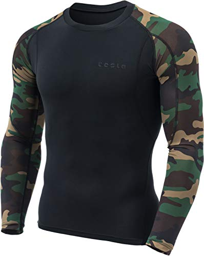 TSLA TM-MUD11-SMG_Large Men's Long Sleeve T-Shirt Baselayer Cool Dry Compression Top MUD11