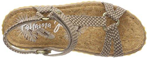 PANAMA JACK Caribeña Snake, Sandalias con Punta Abierta Para Mujer Verde (Taupe)