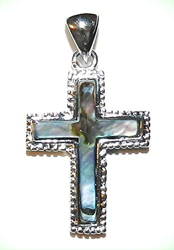 P1881 Cross 27mm Abalone Shell Gemstone Pendant with Silver Brass Setting & Bail