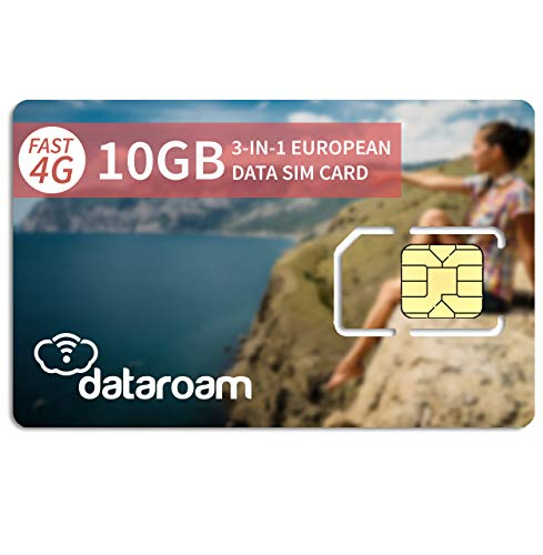 dataroam Prepaid 4G Europe Data SIM Card - Europe 10GB Bundle - 36 Countries - 3-in-1 SIM - Cellhire