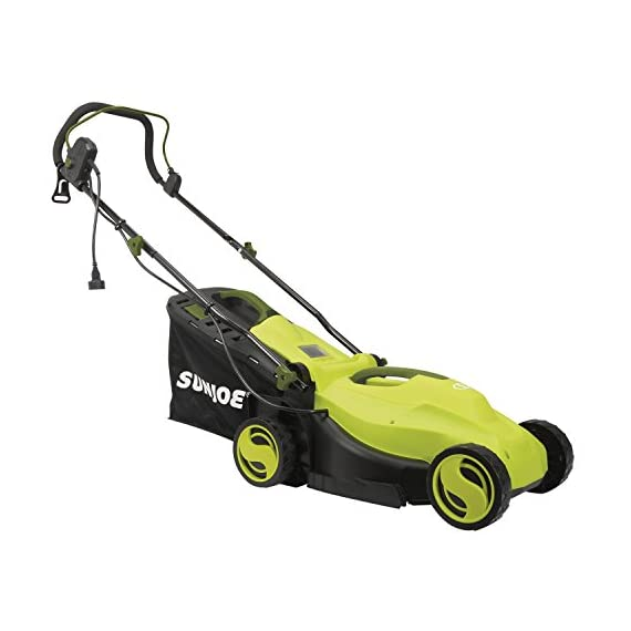 Sun Joe MJ400E 12-Amp 13-Inch Electric Lawn Mower w/ Grass Collection Bag 2 Powerful: 12-amp motor cuts a crisp 13.4 in. Wide path Adjustable deck: customize your cut with 3-position adjustable Height control: 0.98 in., 1.77 in., 2.56 in Lightweight: compact design is ideal for maneuvering around small lawns