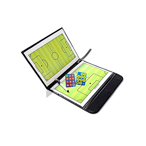 Biowow Soccer Football Magnetic Tactic Coach ClipBoard with Dry Eraseand Marker Pen - Coaching Strategy Board Kit Equipment Foldable and Portable Coach Tool Soccer Coach Gifts by Biowow