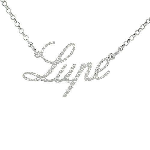 (Sterling Silver Name Necklace Lupe Diamond Cut Platinum Coated Italy, about 3/4 Inch wide 16 inches + 2 inch)