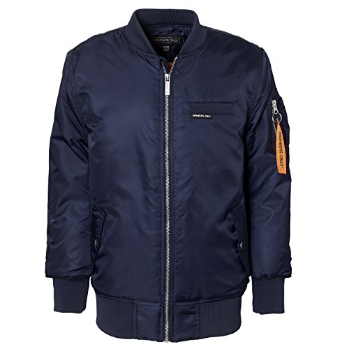 Members Only Big Boys Satin MA1 Bomber Jacket with Ribbed Trim, Navy, 10/12 Boys