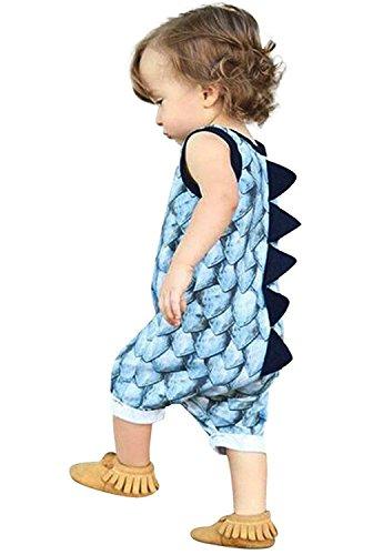 Mini honey Infant Toddle Baby Boy Girl Dinosaur Print Sleeveless Romper (12-18 Months, Blue)