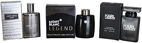 Set de 3 colonias para hombre (4,5 ml cada una), Jimmy Choo, Mont Blanc y Karl Lagerfeld