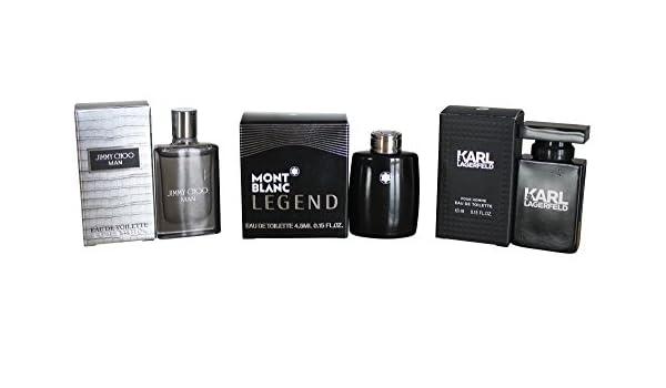 Set de 3 colonias para hombre (4,5 ml cada una), Jimmy Choo, Mont Blanc y Karl Lagerfeld: Amazon.es: Belleza