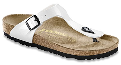 Birkenstock 543763 Women's Gizeh Birko-Flor Patent Thong Sandals, Patent White, 36 N EU / 5-5.5 2A(N) US -