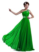 DLFASHION One-shoulder Floor Length Beaded Chiffon Prom Dress