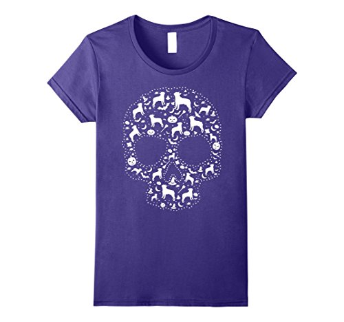 Womens Pooch Sugar Skull T-shirt cute Boston Terrier Dog Large Purple - Best Boston Terrier Halloween Costumes
