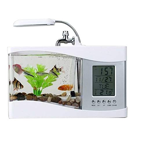 USB Multifunctional Mini Desktop Lamp Timer LED Light Home Decor Aquarium Fish Tank LCD Display With Calendar Clock Alarm   White, as picture