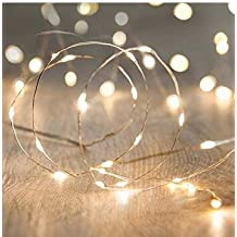Fairy String Lights Battery Operated 9.8Ft 3M 30 Leds Firefly Micro String Lights Copper Wire, for Wedding Centerpiece Thanksgiving Dinner Party Christmas Decoration, Crafting(Warm white)