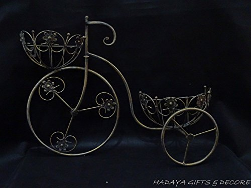 Iron Tricycle (Antique Golden bronze Wrought Iron Tricycle Shaped Planter Double Basket Planter Holder for Indoor or Outdoor Use. Finished in Powder Coated Antique Golden Gives This a nostalgic Look)