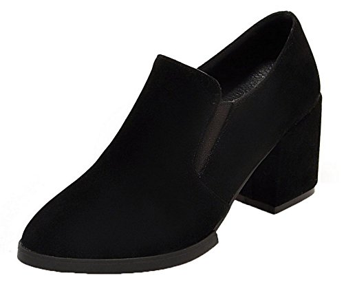 AllhqFashion Damen Mittler Absatz Gemischte Farbe Spitz Zehe Pumps Schuhe Schwarz