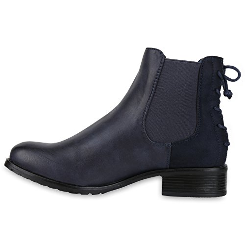 Stiefelparadies Damen Stiefeletten Chelsea Boots Zipper Leder-Optik Schuhe Nieten Metallic Lack Glitzer Blockabsatz Booties Profilsohle Flandell Dunkelblau Schleifen