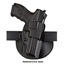 """Safariland 5198 STI 5"""" Short Dust Cover Open Top Holster with Detent/Paddle/Belt Loop Combo, Black, Left Hand"""