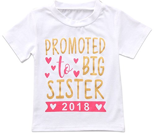Price comparison product image 2018 Baby Girl Clothes Outfit Big Sister Letter Print T-Shirt Top Blouse Shirts (White,  6-7 Years)