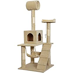 Beige 57 Cat Tree Tower Condo Scratcher Furniture Kitten House Hammock by BestPet