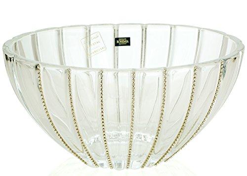 12-Inch Swarovski Jeweled Crystal Vase, Decorative Wedding Centerpiece Fruit Bowl Inlaid with (Victoria Fruit Bowl)