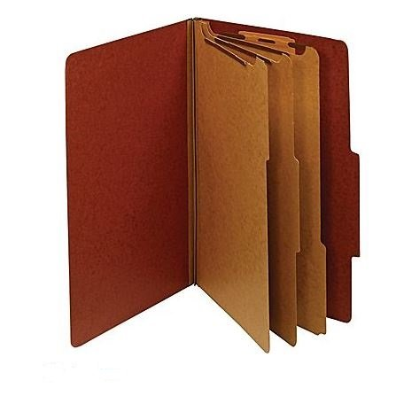 Staples Colored Pressboard Classification Folders, Legal, 3 Partitions, Red, 20/Pack