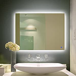 Alice Dimmable LED Backlit Mirror Anti-fog Wall Mounted Bathroom Mirror Illuminated Vanity Mirror with Touch Button