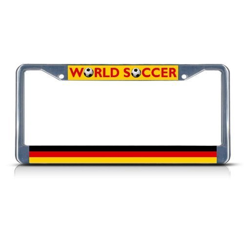 Guang trading GERMANY Soccer Team Chrome Metal Heavy Duty License Plate Frame Tag Border by Guang trading
