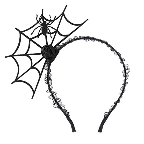Ivysan Halloween Spider Web Hair Hoop Cosplay Headdress Devil Headband]()