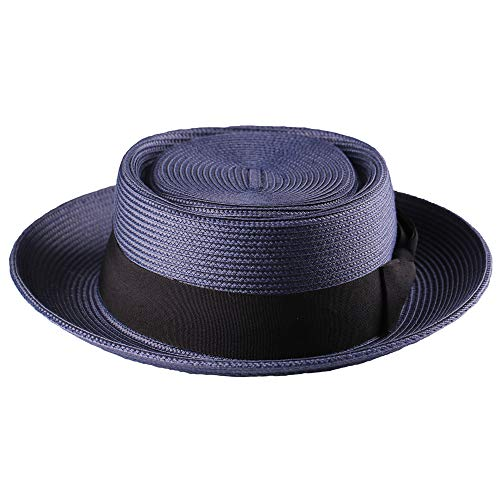 (Pork Pie Straw Hat Men's Fedora Sun Hats Summer Porkpie Beach Flat Boater Cap with Upturn Brim (L:7 1/4-7 3/8, Navy Blue))