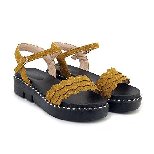toe s peep jaune Mei décontracté femme talon plat sandales AzdYSYwqv
