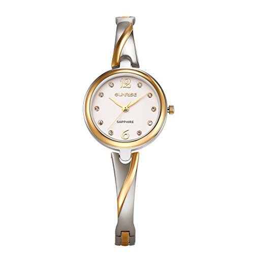 Women's SL711SWA03 Luxury Floating Crystal Quartz Gold-Tone and Silver Bracelet Watch with Delicate Box