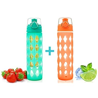 20 oz Glass Water Bottle Fruit Infuser with Silicone Sleeve (7pcs Set) - Perfect as Yoga Water Bottle for Hiking, Gym or any Sports Water Bottles - BPA-Free Fruit Infused Water Bottle with Flip Top