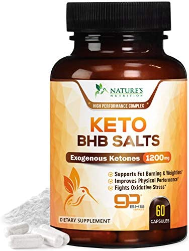 Keto BHB Pills Premium Exogenous Ketones Salts 1200mg - Utilize Your Body's Natural Energy with Ketosis - Made in USA - Ketone Weight Support Supplement with Hydroxybutyrate for Men and - 60 Capsules 1