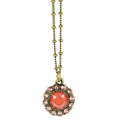 Anne Koplik Antique Brass Light Coral & Rose Peach Swarovski Crystal Mila Pendant Necklace