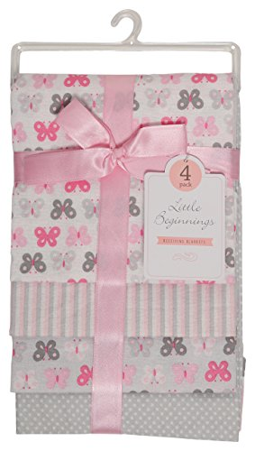 Little Beginnings Four Piece Laddered Receiving Blankets, Pink (Flannel Receiving Blanket Set)