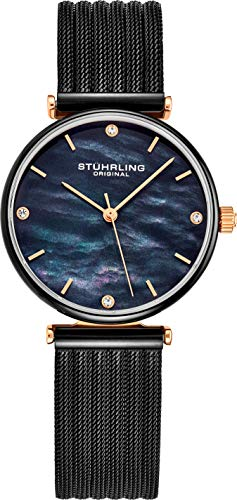Stuhrling Original Womens Watch Mother of Pearl Analog Watch Dial, Silver Stainless Steel Braided Mesh 3927 Watches for Women Collection (Black/Black) (Watches For Women Stuhrling)