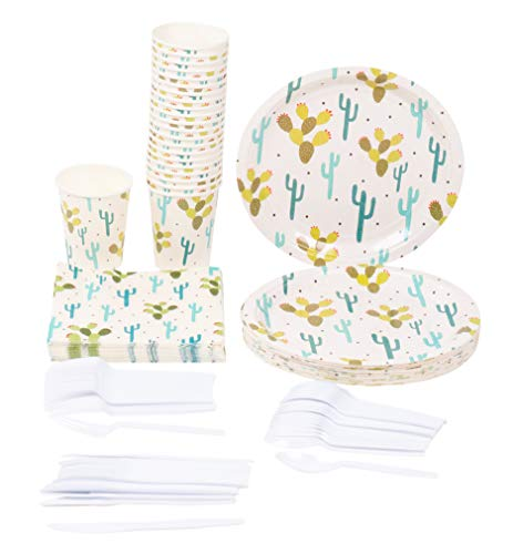 Disposable Dinnerware Set  Serves 24  Cactus Party Supplies Includes Plastic Knives Spoons Forks Paper Plates Napkins Cups