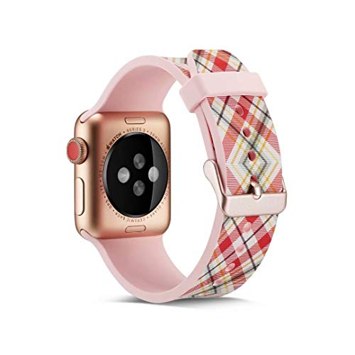 - Art Design Creative Painting Silicone Band Strap Replacement Sport Wristband Bracelet Compatible with 40mm 38mm Apple Watch Series 4/3/2/1 (Pink/Plaid)