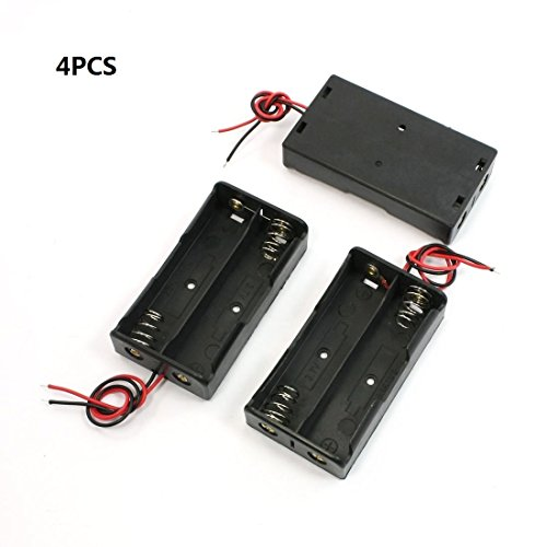 GLE2016 4 Pcs Black Battery Storage Box Holder for 3.7V 2x 18650 Batteries w Wire Connector