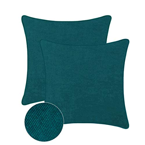 (BRAWARM Pack of 2 Cozy Throw Pillow Covers Cases for Couch Sofa Bed Solid Corduroy Striped Texture Soft Cushion Covers with Piping Both Sides for Home Decoration 18 X 18 Inches Deep Teal)