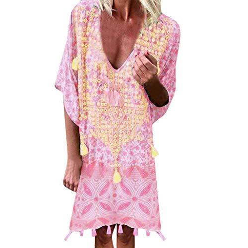 URIBAKE 2019 Women Vintage Loose Dress Bohemian Print Short Sleeve Above Knee Low Cut Beachwear Mini Dress Pink