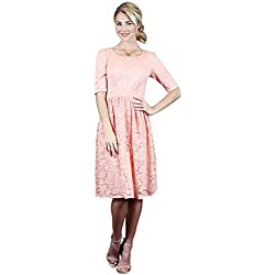 Haley A-Line Modest Dress in Peachy Pink Lace