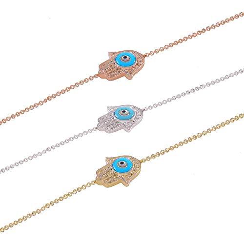 TousiAttar Hamsa Hand Bracelet Gold - Diamond Evil Eye Bracelets - Real 14k Solid Yellow Rose White - 0.08 CT White Diamond - Nice jewelry Gift for women and ()