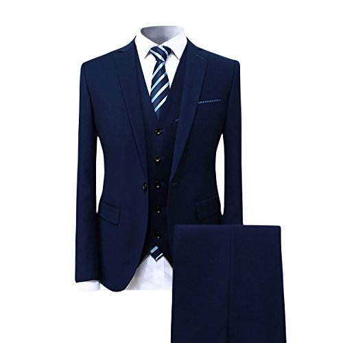 Cloudstyle Mens Suit Solid Color Formal Business Two Button 3-Piece Suit Wedding Slim Fit (Large, Blue)