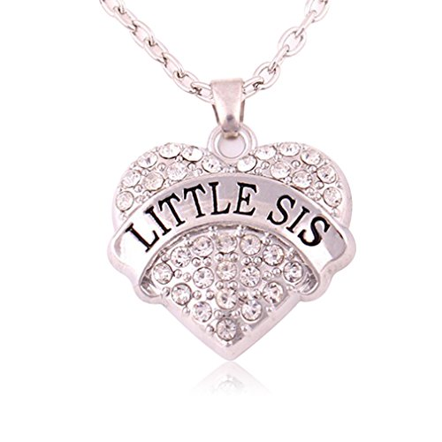 [CASOTY LITTLE SIS Necklace Crystal Heart Necklaces for Best Friends Daughters Sisters Girls Jewelry] (Big Sister Little Sister Costumes)